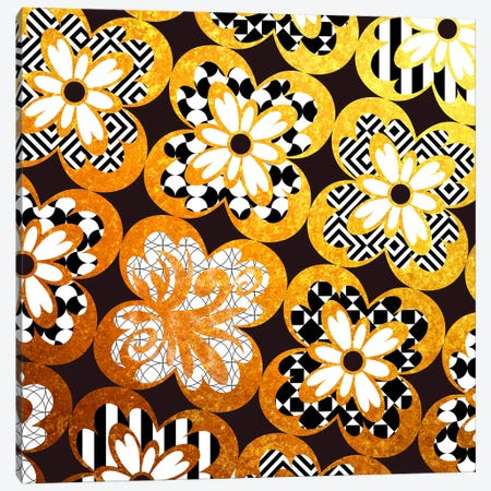 Flourished Floral in Gold with Black Patterns Canvas Print #HPP13} by 5by5collective Canvas Art