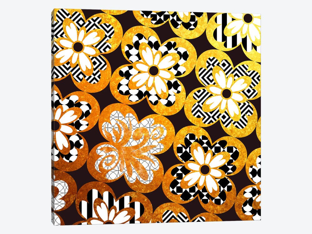 Flourished Floral in Gold with Black Patterns by 5by5collective 1-piece Canvas Art Print