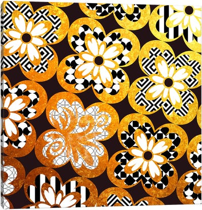 Flourished Floral in Gold with Black Patterns Canvas Art Print