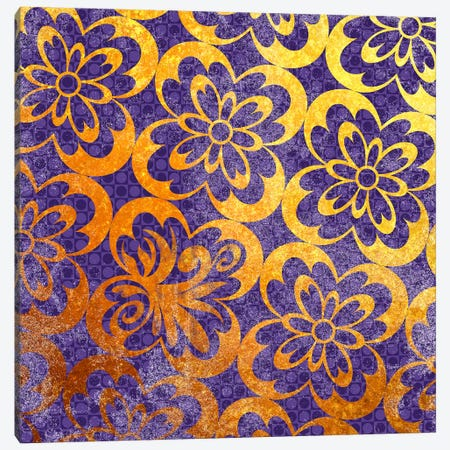 Flourished Floral in Gold with Purple Patterns Canvas Print #HPP14} by 5by5collective Canvas Print