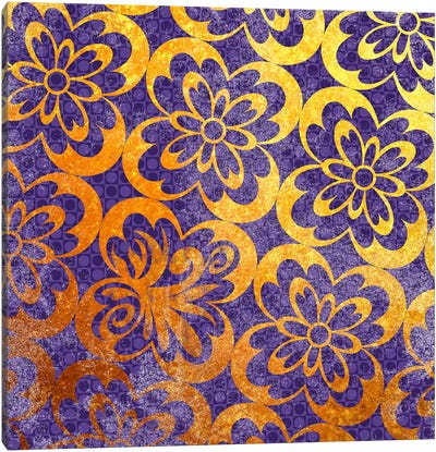 Flourished Floral in Gold with Purple Patterns Canvas Art Print