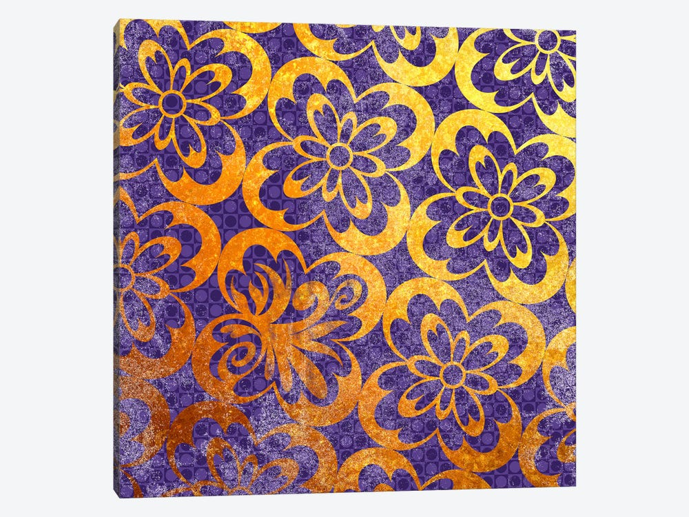 Flourished Floral in Gold with Purple Patterns by 5by5collective 1-piece Canvas Wall Art