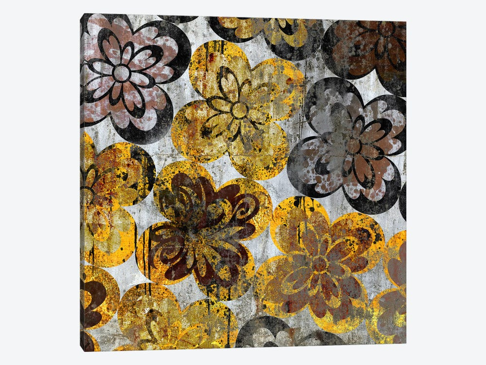 Flourished Floral on Grunge Wall by 5by5collective 1-piece Art Print