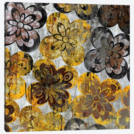 Flourished Floral on Grunge Wall Canvas Print #HPP15} by 5by5collective Canvas Print