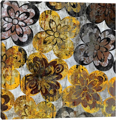 Flourished Floral on Grunge Wall Canvas Art Print