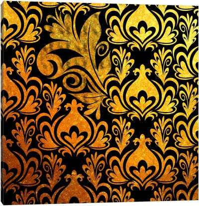 Incoherent Fragment in Black & Gold Canvas Art Print