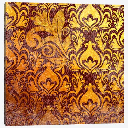 Incoherent Fragment in Gold with Maroon Patterns Canvas Print #HPP21} by 5by5collective Canvas Print