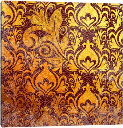 Incoherent Fragment in Gold with Maroon Patterns Canvas Art Print