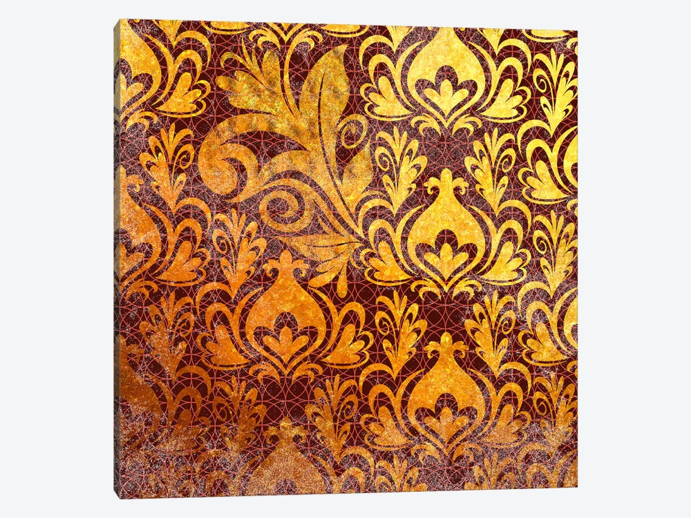 Incoherent Fragment in Gold with Maroon Patterns by 5by5collective 1-piece Canvas Artwork