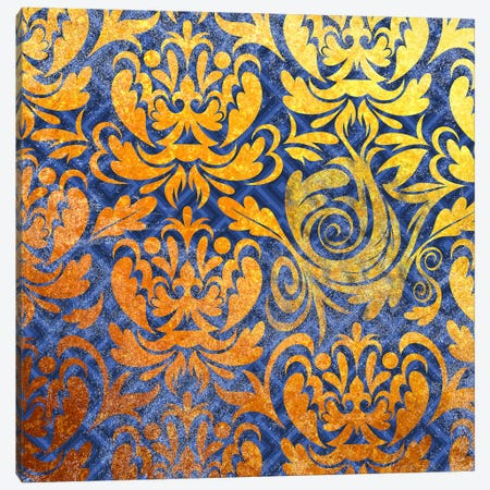 Modular Movement in Gold with Blue Patterns Canvas Print #HPP26} by 5by5collective Canvas Artwork