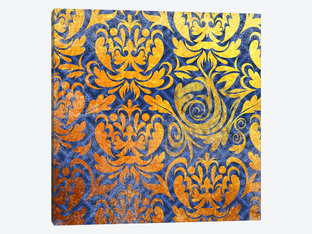 Modular Movement in Gold with Blue Patterns by 5by5collective 1-piece Canvas Art Print