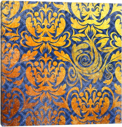 Modular Movement in Gold with Blue Patterns Canvas Art Print