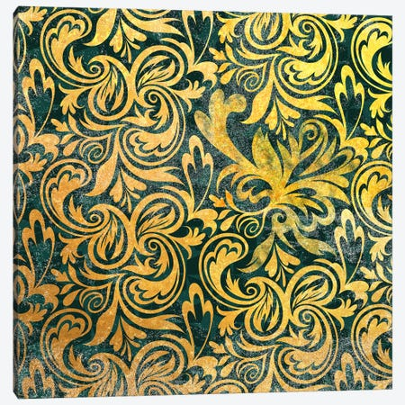 Secret View in Gold with Green Patterns Canvas Print #HPP33} by 5by5collective Canvas Wall Art