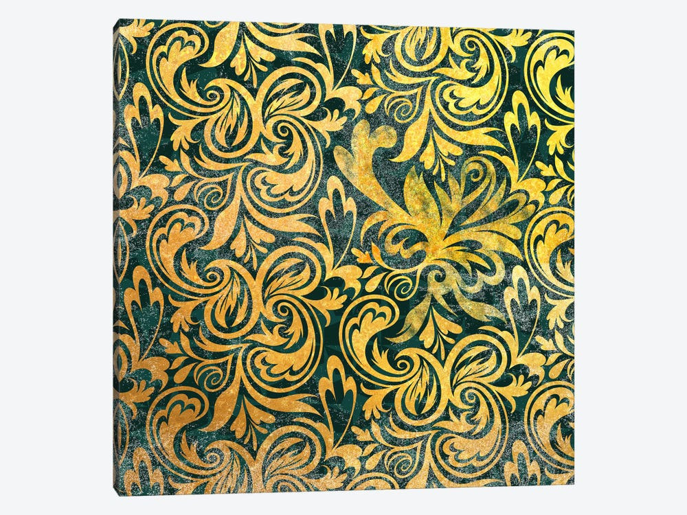 Secret View in Gold with Green Patterns 1-piece Canvas Print
