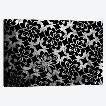 Flourished Floral in Black & Silver Extended Canvas Print #HPP37} by 5by5collective Canvas Print