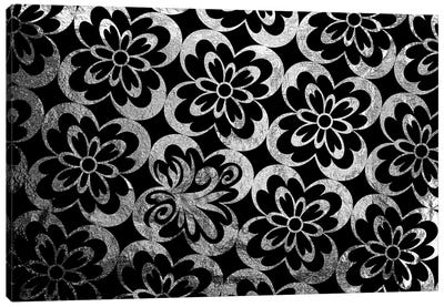 Flourished Floral in Black & Silver Extended Canvas Art Print