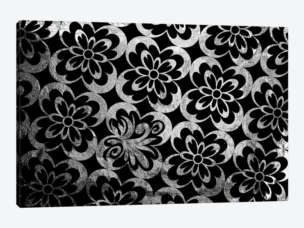 Flourished Floral in Black & Silver Extended by 5by5collective 1-piece Canvas Print