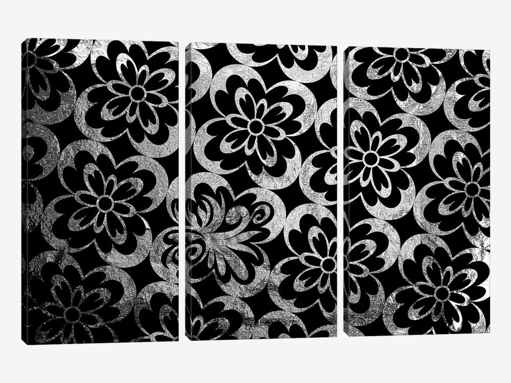 Flourished Floral in Black & Silver Extended by 5by5collective 3-piece Canvas Print