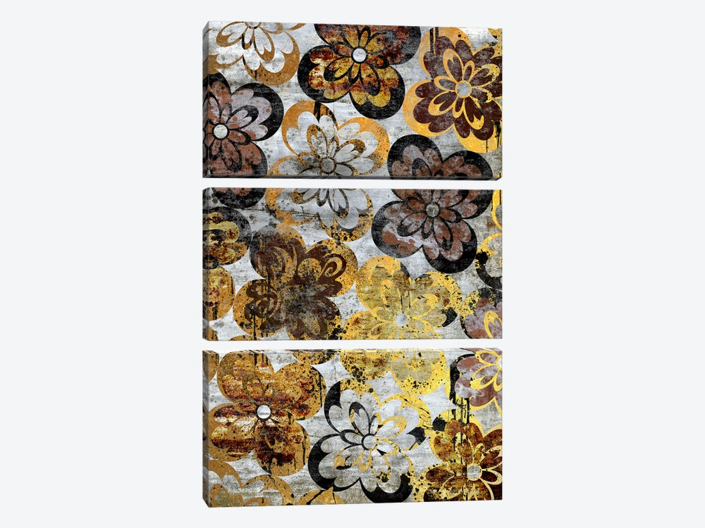 Flourished Floral on Grunge Wall Extended by 5by5collective 3-piece Canvas Art