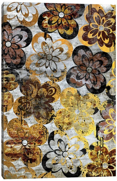 Flourished Floral on Grunge Wall Extended Canvas Art Print