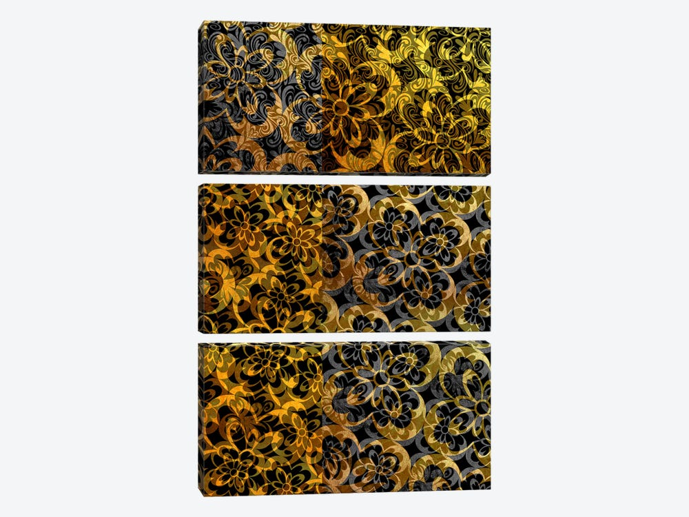 Evolving Movement in Gold Extended by 5by5collective 3-piece Canvas Wall Art