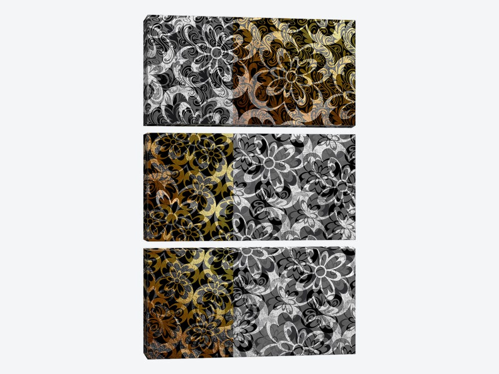 Evolving Movement in Silver Extended by 5by5collective 3-piece Canvas Artwork