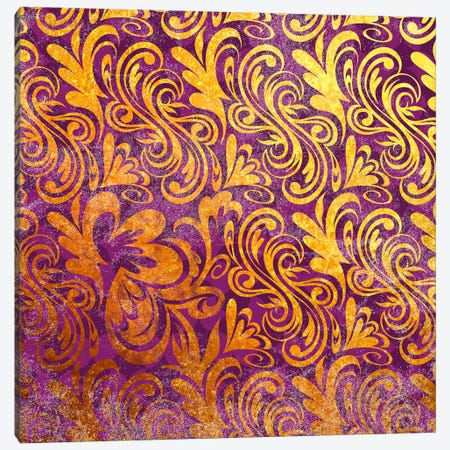 Element of Peace in Gold with Purple Patterns Canvas Print #HPP4} by 5by5collective Canvas Art