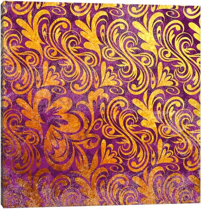 Element of Peace in Gold with Purple Patterns Canvas Art Print