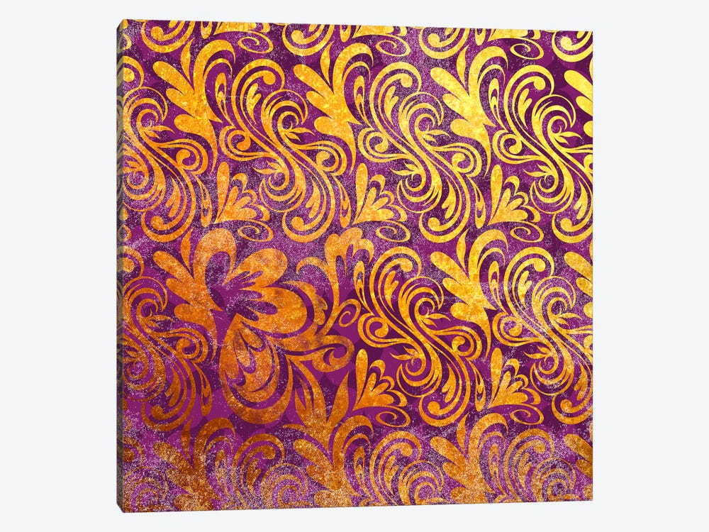 Element of Peace in Gold with Purple Patterns by 5by5collective 1-piece Art Print