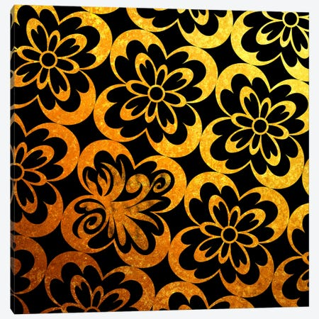 Flourished Floral in Black & Gold Canvas Print #HPP7} by 5by5collective Canvas Art