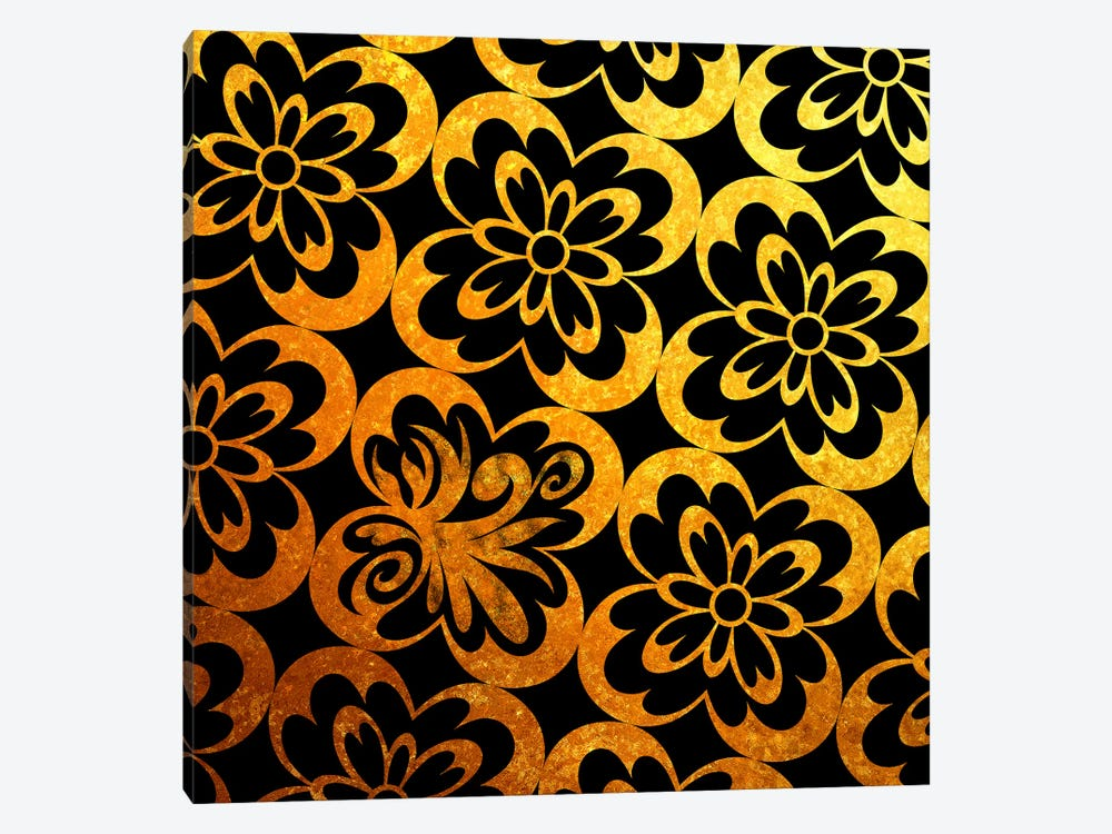 Flourished Floral in Black & Gold 1-piece Canvas Wall Art