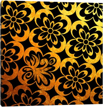 Flourished Floral in Black & Gold Canvas Art Print