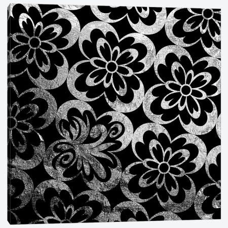 Flourished Floral in Black & Silver Canvas Print #HPP8} by 5by5collective Art Print