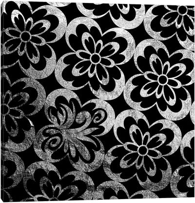 Flourished Floral in Black & Silver Canvas Art Print