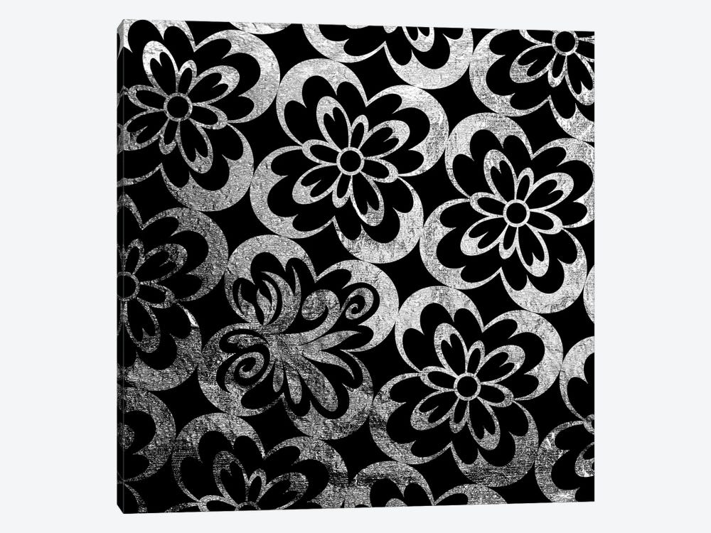Flourished Floral in Black & Silver by 5by5collective 1-piece Canvas Print