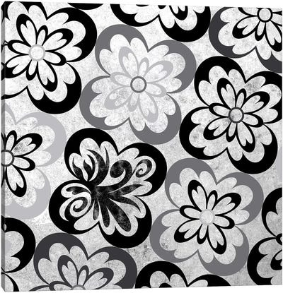 Flourished Floral in Black & White Canvas Art Print