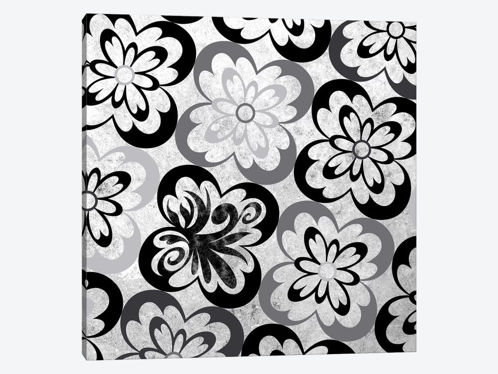 Flourished Floral in Black & White by 5by5collective 1-piece Canvas Art