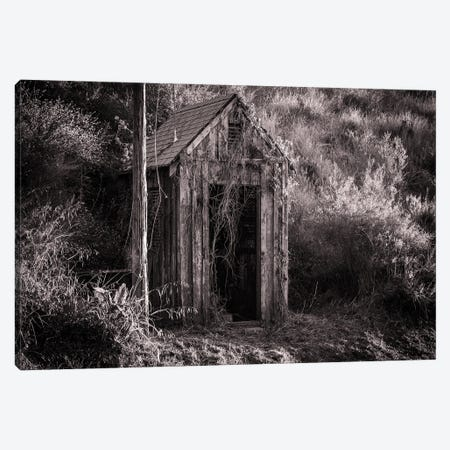 Antique Shed In Black And White Canvas Print #HRB42} by Heather Roberson Canvas Wall Art