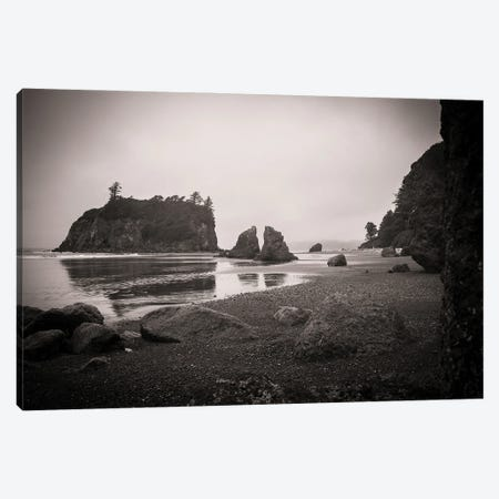 Ruby Beach In Black And White Canvas Print #HRB7} by Heather Roberson Canvas Print
