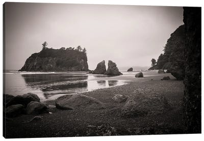 Ruby Beach In Black And White Canvas Art Print