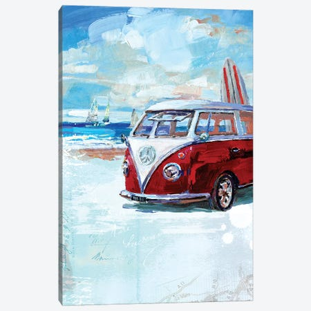 Red Camper Van Canvas Print #HRI1} by Harrison Ripley Art Print