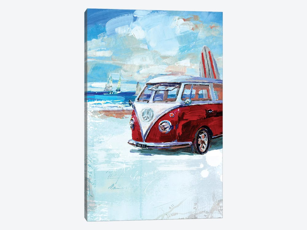 Red Camper Van 1-piece Canvas Wall Art