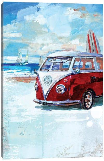 Red Camper Van Canvas Art Print
