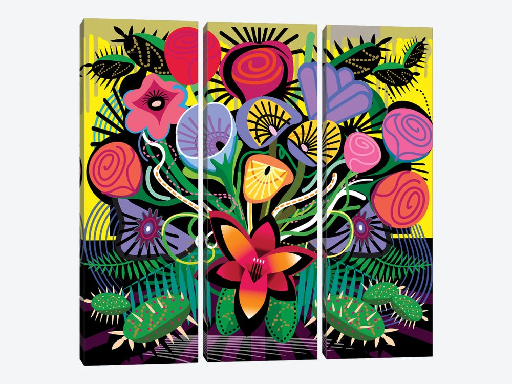 Jungle Bouquet by Charles Harker 3-piece Canvas Art