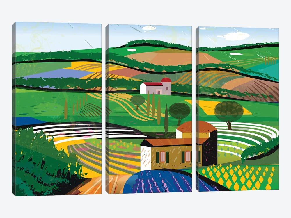 Green Fields by Charles Harker 3-piece Canvas Art Print