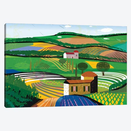 Green Fields Canvas Print #HRK107} by Charles Harker Canvas Print