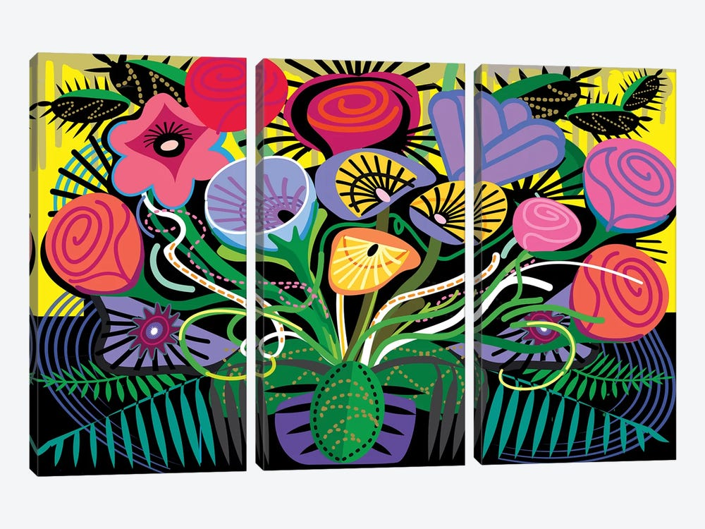 Penacho Flowers by Charles Harker 3-piece Canvas Art Print