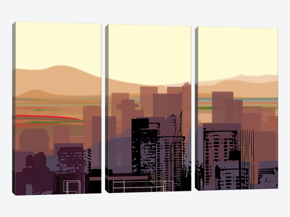 Downtown Desert (Phoenix) (wide) 3-piece Canvas Art