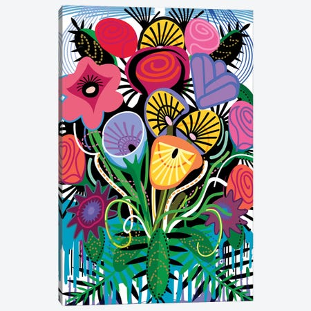 Flamenco Flowers Canvas Print #HRK114} by Charles Harker Canvas Wall Art