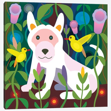 White Dog Garden - Square Canvas Print #HRK122} by Charles Harker Canvas Art